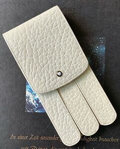 NEW IN BOX VINTAGE MONTBLANC IVORY THREE-PEN GLOVE CASE IN OFF-WHITE LEATHER