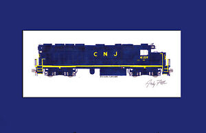 "New Jersey Transit CNJ GP40PH-2 #4109 11""x17"" Matted Print Andy Fletcher signed"
