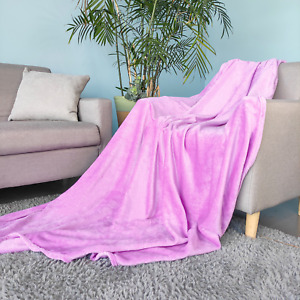 Soft Cosy Large Faux Fur Fleece Blanket Bed Sofa Throw Single & Double Size