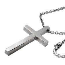 "Simple Large Mens Titanium Steel Cross Pendant Necklace 30"" Chain Religious"