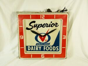 Vintage Superior Dairy Quality Checkd Lighted Advertising Clock Sign