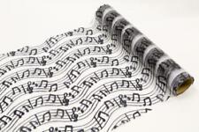 """Tischläufer """"Musik"""" aus Organzastoff ideal für alle Anlässe in schwarz & weiss"""