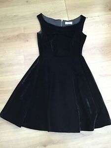 WOMENS BLACK VELVET BOW NECK FIT & FLARE EVENING DRESS BY COAST SIZE 10 EX CON