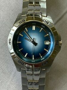 Fossil Men's 42mm Quartz Watch AM-3996 Gradient Blue Dial with date Silver Toned