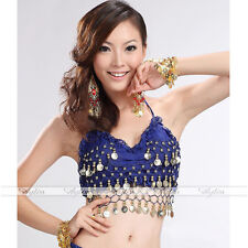 Women Deep Blue Lotus Leaf Dangle Coins Belly Dance Costume Dancewear Top Bra