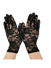 Black Lace Stretch Wrist Gloves Halloween Goth Fancy Dress Burlesque Madonna