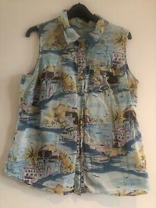 Boden Ladies Blue 'Santorini' Print Sleeveless Cotton Shirt Size 16R