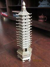 "Brass Statue, Pagoda, 14"" tall. Solid brass metal, custom made"