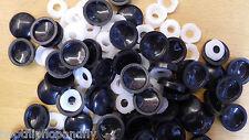50 Negro Plástico Cubiertas de Tornillos Plastidome Espejo Cristal Moderno Tapas