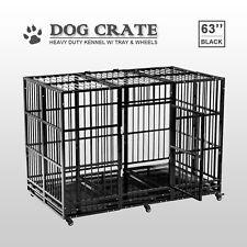 Xxl 63' Large Kennel Dog Cage Crate Heavy Duty Metal Pet Playpen w/Wheel & Tray
