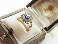 Antiguo impresionante georgiano Diamante Anillo & Esmalte Azul Real C.1790 -1800