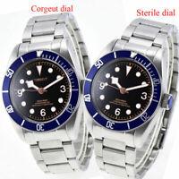 41mm CORGUET black dial blue bezel date 21 jewels miyota automatic mens Watch