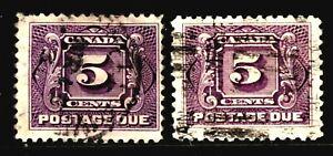 CANADA POSTAGE DUE #J4-J4c 5c VIOLET & REDDISH VIOLET, 1906-28, USED