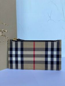 Burberry Card Case Checkered Pattern Beige Leather  New 100% Authentic