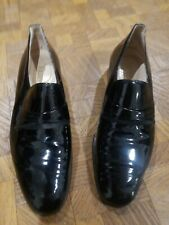 BALLY Black Patent Leather Tuxedo Formal Shoes Switzerland Loafers Mens SZ 8.5