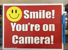 2x Smile you are on camera sign with water proof laminate Customize Letter size