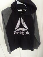 Reebok Hooded Hoodie Mens. Medium Sweatshirt Long Sleeve Black Gray Logo Warm ex