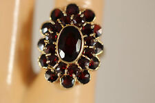 HEAVY WIDE VINTAGE 14K SOLID YELLOW GOLD GARNET BOHEMIAN RING 14KT SZ 6.5 5.70G
