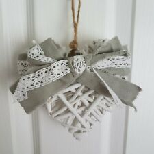 PRETTY RUSTIC WHITE WICKER CHIC N SHABBY HANGING HEART WITH A GREY & LACE BOW