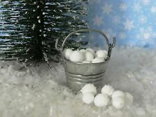 "Dollhouse Miniature Winter Snowballs w/Pail 1"" Scale 1:12 Holiday Fairy Garden"