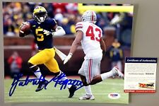 """JABRILL PEPPERS SIGNED MICHIGAN WOLVERINES 8X10 PHOTO """"THROWING"""" PSA ROOKIE COA"""