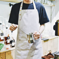2 Packs Cotton Mens Women Aprons Pocket Grey Work Kitchen Cooking Art Restaurant