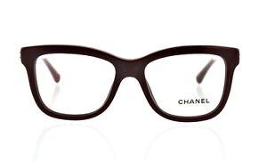 New Chanel CH 3272 c.1448 50mm Burgundy Transparent Eyeglasses RX Frames Italy