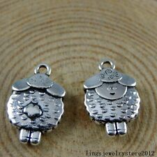 Vintage Silver Alloy Tiny Mutton Sheep Shape Pendants Charms Crafts 30x 50939