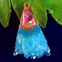 Wrapped Blue Titanium Crystal Agate Druzy Quartz Geode Pendant Bead S37549