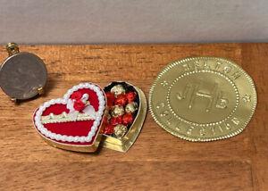 Vintage Artisan J HELTON Valentine's DAY Box Chocolates Dollhouse Miniature 1:12