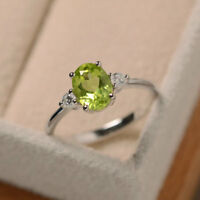 14K White Gold Peridot Ring 1.70 Ct Genuine Diamond Engagement Rings Size 6 7