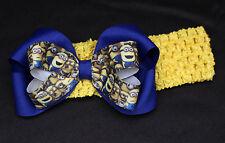 Baby Toddler Girl yellow minions Hair Bow Headband Costume Birthday Bow OSFA