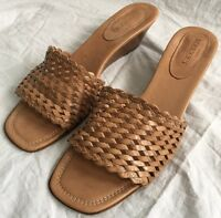 SESTO MEUCCI Woven Open Toe Leather Sole Slides Sandals Tan/Camel Size 10