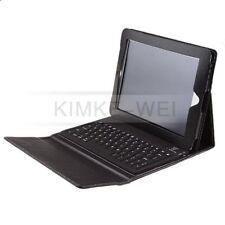 Leder Tasche/Lederhülle mit integrierter Bluetooth Tastatur für IPad 2 3 Schwarz