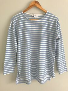 FEATHER + NOISE Size 12 Light Blue and White Stripes Long Sleeve Tee T-Shirt Top