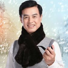 Winter Warm Men's Real Fur Scarf Scarves Thicken Father Solid Color Wraps Shawl
