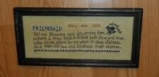 PRIMITIVE CHIPPY WOOD GLASS FRAMED NEEDLEPOINT, MARY ANN 1905 FRIENDSHIP PICTURE