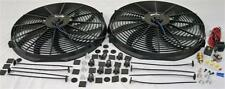 "Dual 16"" Universal Electric Radiator Cooling Fans + Thermostat Relay & Mount Kit"
