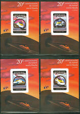 GUINEA 2014 20th ANN CHANNEL TUNNEL TRAINS  SET OF  FOUR DELUXE SOUVENIR SHEETS
