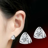 925 Sterling Silver Crystal Stud Earrings Triangular For Women Jewelry