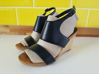 Worn Once Next Forever Comfort Black Wedge Heel Sandals UK 5 / 38 Wood Look VGC