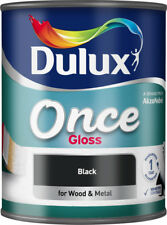 Dulux Once Gloss Paint 750ml Black For Wood & Metal Interior/Exterior-