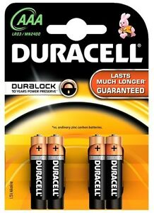 4 x Duracell AAA Alkaline LR03 1.5V Batteries LR03 / MN2400