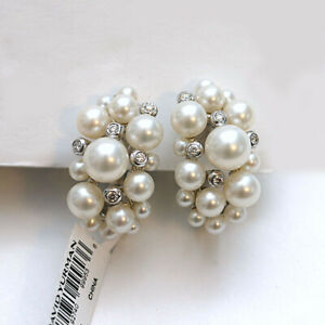 DAVID YURMAN NEW Sterling Silver Large Pearl Cluster Earrings with Diamonds