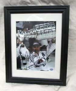 Ray Bourque Holding 2001 Stanley Cup Trophy in New Frame Avalanche SGC Authentic
