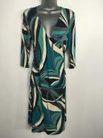WOMENS PRINCIPLES BLUE GREEN BEIGE FITTED GATHERED 3/4 SLEEVE WRAP DRESS UK 12
