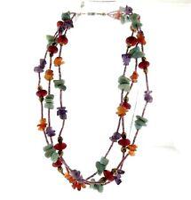 "Carnelian Amethyst Amazonite Multi Gemstone Triple Strand Necklace 1x21"""
