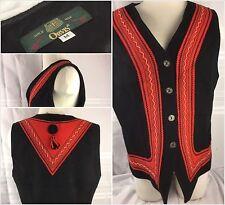 Orvis Sweater Cardigan Vest Medium Black Green Red 100% Wool Christmas YGI 37ss