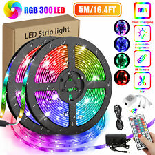 16.4FT RGB Flexible 300LED Strip Light SMD Remote Fairy Lights Room TV Party Bar