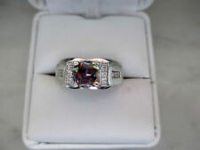 ,Antique Style men's 14K White Gold Plated 1.25Ct  Multi-Color Diamond Ring